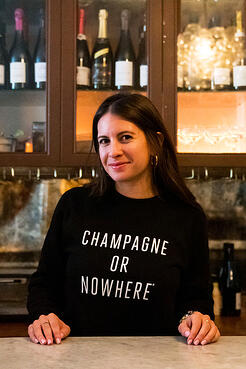 arielairAriel at Air's Champagne Parlour showing off her Knowlita x Verve Wine Champagne shirt