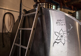 Steel fermentation drum in Beaujolais